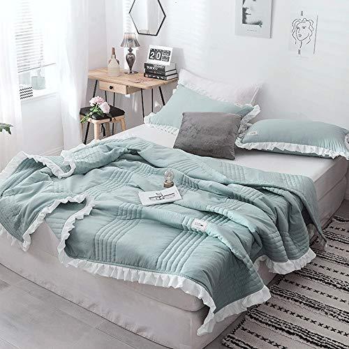 DRHYSFSA-Home Dünne Bettdecke 3-teiliges, waschbares, dünnes Tröster-Set aus 100% Baumwolle (bestehend aus 1 Steppdecke und 2 Kissenbezügen) Leichte Steppdecke Ideal für den Sommer -