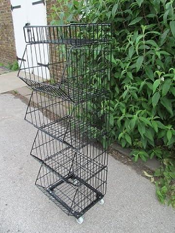 Black 5 tier deep stacking dump picking bins baskets retail shop kitchen display on wheels 132cm tall - by Fat-Catz-Copy-Catz