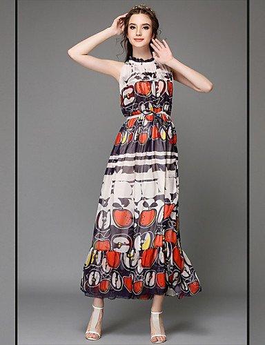 LYQ/ Robe Aux femmes Grandes Tailles Grandes Tailles / Vintage / Soirée / Travail / Décontracté , Imprimé / Mosaïque Col Arrondi Midi Soie screen color-2xl