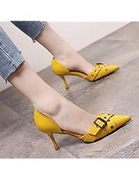 Yukun zapatos de tacón alto Fashion Cross Belt Buckle High Heels Female  Pointed Stiletto Single Shoes Hollow Shallow… 4d59427b151b