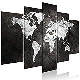 decomonkey | Bilder Weltkarte 200x100 cm | 5 Teilig | Leinwandbilder | Bild auf Leinwand | Vlies | Wandbild | Kunstdruck | Wanddeko | Wand | Wohnzimmer | Wanddekoration | Deko | Welt Kontinent Landkarte schwarz grau