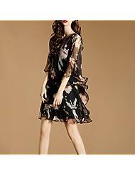 Women'S Robe En Été, L'Europe Et Les États - Unis Taille Women'S Manches Imprimés Imitant La Soie Robe De Soie Irrégulier