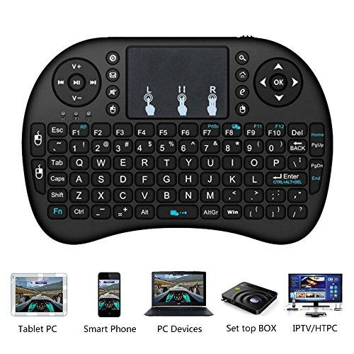 Mini Tastatur Wireless Kabellos Keyboard mit Touchpad Multimedia Tasten für Smart TV Android TV Box PC IPTV Tablets