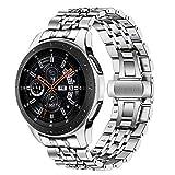TRUMiRR Galaxy Watch 46mm/Gear S3 Bande de Montre, 22mm Bracelet en Acier Inoxydable Bracelet à Boucle Papillon avec extrémité...
