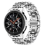 TRUMiRR Armband kompatibel Für Galaxy Watch 46mm Armband, 22mm Edelstahl Armband Curved End Uhrenarmband Schmetterling Schnalle Armband für Samsung Galaxy Watch 46mm