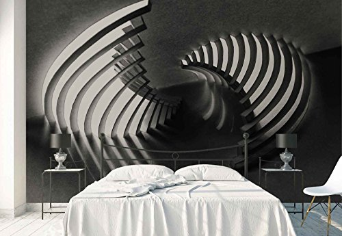 Vlies Fototapete Fotomural - Wandbild - Tapete - Metall Grids Shell Geformt Textur - Thema Texturen und Effekte - L - 254cm x 184cm (BxH) - 2 Teilig - Gedrückt auf 130gsm Vlies - 1X-939092V4 (Kurvige Form)