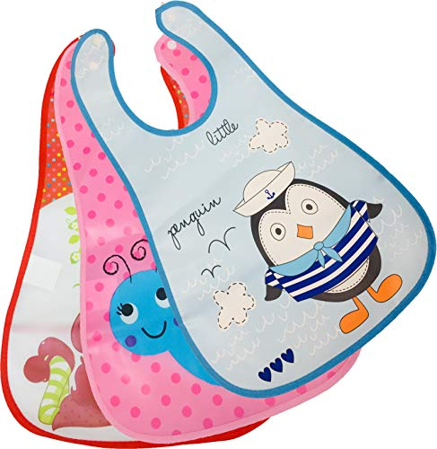 First Trend Waterproof Apron Bibs for Baby with Food Catcher Pocket Pack of 3 (combo3)