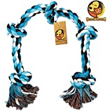 Foodie Puppies Cotton Rope Dog Chew Toy Large with 5 Chew Knots - Extra Durable (Color May Vary)
