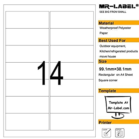 Mr-Label® Waterproof Removable Adhesive Labels - Tear-Resisitant stickers for Kitchen
