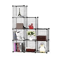 BASTUO DIY Wire Storage Cabinet Bookcase Shelf baskets Modular Cubes,Closet for toys,Books,Clothes,Black