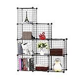 BASTUO 9-Cubes DIY Draht Aufbewahrung Schrank Bücherregal Regal Körbe Modular Cubes, Closet für Toys. Bücher, Kleidung, Schwarz