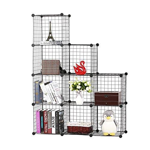 BASTUO 9-Cubes DIY Draht Aufbewahrung Schrank Bücherregal Regal Körbe Modular Cubes, Closet für Toys. Bücher, Kleidung, schwarz -