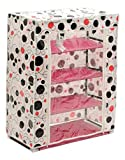 Haneez Shoe Rack, Shoe Shelf, Shoe Cabinet and Clothes Wardrobe with Dustproof Fabric Cover (4 Tiers) for Organizing Clothes and Shoes, Cloth Designs May Vary