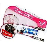 EAEY Zwei Stücke Graphit Welle Badminton Schläger, Badminton Schläger Set, Einschließlich Badminton Tasche, Set 2,Pink