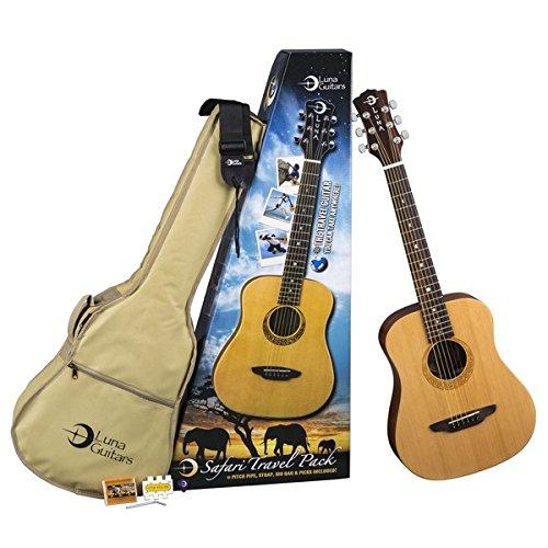 Luna Guitars SAF PK Safari Travel Pack avec guitare Muse Satin et sangle/accordeur/mdiators et housse