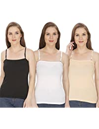 Modal Camisole with Detachable Strap / Skin / Beige Colour / Spaghetti For Women / Tank Top / Body Fit / Cool Fabric Full Slip / Sando Camisole Shameej Inner in Small Medium Large Size by Shopolica for Women & Girls