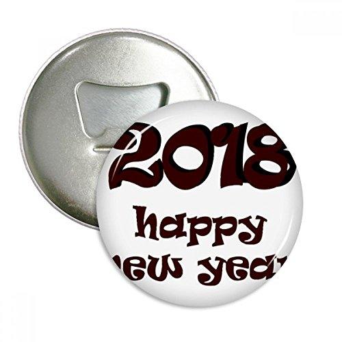 ckliches neues Jahr Schöne Schrift Runde Flaschenöffner Kühlschrank Magnet Pins Abzeichen-Knopf-Geschenk 3pcs Silber ()