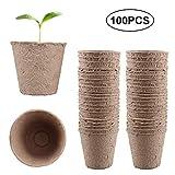 100PCS Pots Biodégradables,Siebwinn Rond 8 Cm Tourbe Pots de Semence