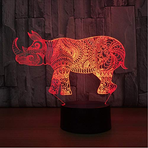 7 Color Animal Rhino Shape 3D Visual Led Night Lights For Kids Touch Button USB Lampara Table Lamp Baby Sleep Light Fixture Gift
