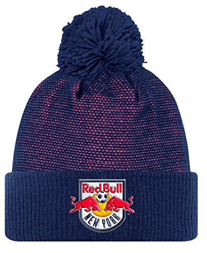 New York Red Bulls Adidas MLS 2017 Authentic Cuffed Knit Hat Hut with Pom
