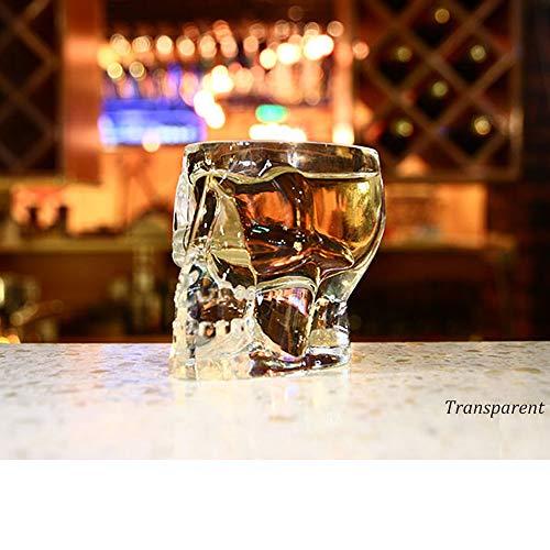 (HBLWX Skull Whisky Glas Bierglas Tequila, Cocktail Glas Weinglas Bierkrug Trinkgläser Geschenk für Vater oder eine Bar,Clear)