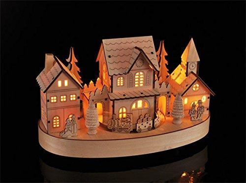 Spetebo LED Weihnachtsstadt 28cm aus Holz
