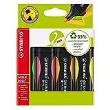 Umweltfreundlicher Textmarker - STABILO GREEN BOSS - 4er Pack - grün, rosa, orange, gelb