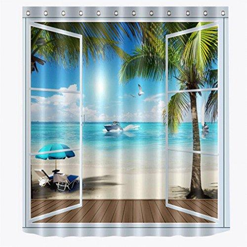 KKY-ENTER Einfache Mode 3D Stereoskopische Strand Meerblick Form Bad Duschvorhänge Wasserdicht und Schimmel Polyester Duschvorhänge ( größe : 180*200cm (Frei Halloween Grafiken)