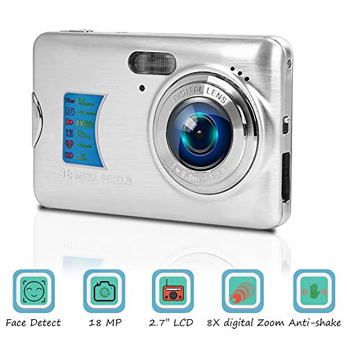 Digitalkamera Kompaktkamera 18MP Fotoapparat Digitalkamera 2,7 Zoll LCD-Bildschirm Fotokamera 8-facher Digitalzoom Vlog Kamera Günstig mit Makrofunktion für YouTube