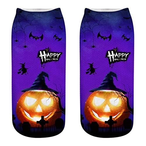 Moonuy 1 STÜCK Nette Socken Halloween Casual Business Socken 3D Halloween Kürbis Freie Größe Vintage Druck Medium Sport Socken