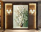 Weaeo Kundenspezifisches Fototapete-Weißes Weißes Gänseblümchen In Der Vasen-Malerei-Fassaden-Hintergrund-Wand3D Tapete-350X250Cm