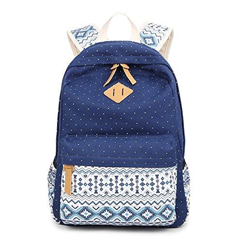 Fresion Sac à dos en toile Sac d'école Sac porté épaule - Pour Filles et Garçons (Bleu)