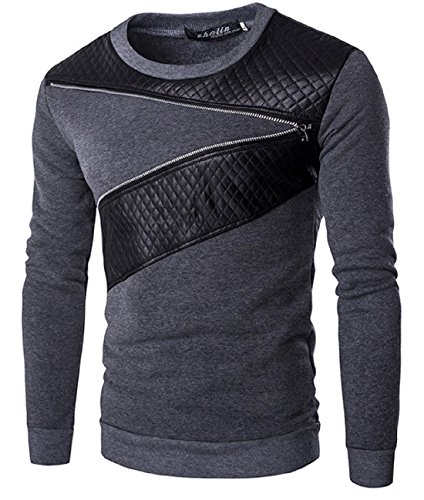 Men's Patchwork Slim Fit O-Neck Pullovers Casual Sweatshirt DimGray