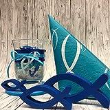 Oblique Unique® Holz Fische Tischstreu Streuartikel Taufe Blau Weiß - Streudeko Verzierung für Taufe, Kommunion und Konfirmation - Echtholz - 5