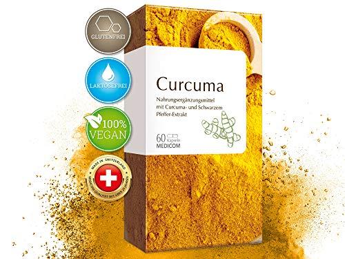 Curcuma 60 Kapseln hochdosiert • hoher Piperin Anteil - 500 mg Kurkuma Extrakt pro Tagesdosis • mit Schwarzem Pfeffer - VEGAN - Gelbwurz • Bekannt aus Ihrer Apotheke - Ayurveda-Superfood