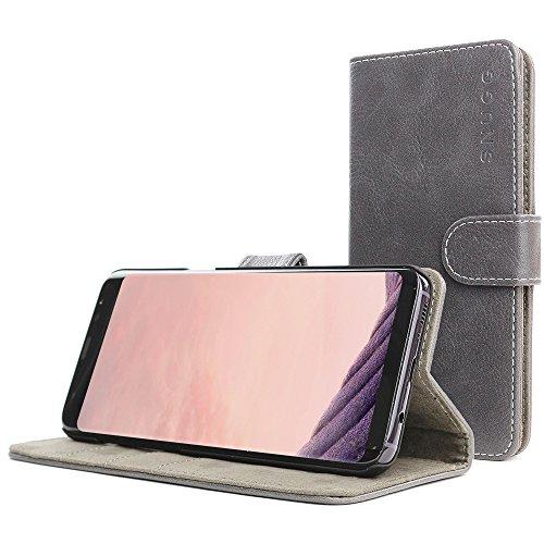 Funda Galaxy S8, Snugg Carcasa Plegable para Samsung Galaxy S8 [Ranuras para Tarjetas] Cubierta de Cuero con Billetera, Diseño Ejecutivo [Garantía de por Vida] -Gris claro, Legacy Range