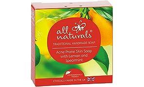 All Naturals, Soap Bar for Sensitive Skin, Acne, Organic Lemon Spearmint, 100g