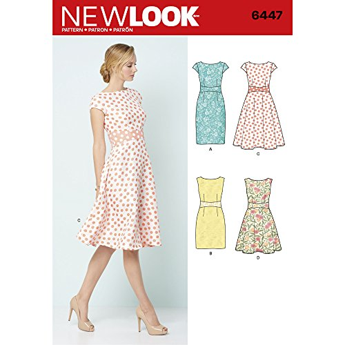 New Look Sewing Pattern 6447A Misses' Dresses, Paper, White, 22 x 15 x 1 cm