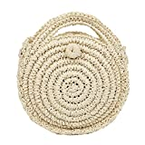 SoonerQuicker Mini tasche frauen kreisförmige handgewebte retro rattan stroh weben einfache strandtasche crossbody tasche