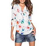 Manadlian Damen Beiläufig Oberteile T-Shirt Frauen V-Ausschnitt Reißverschluss Lose T-Shirt Bluse Abschlag Oberteile