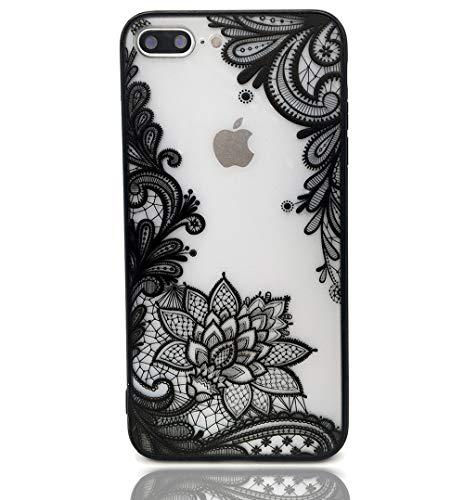 Lemoncover Schutzhülle für iPhone 8 Plus, mit Spitze, Blumendruck, schlankes Design, stoßfest, weiche Stoßstange, Harte Rückseite, für iPhone 7 Plus, Schwarze Mandala -