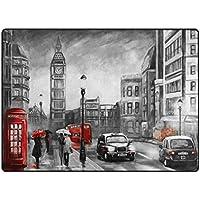 """MyDaily Big Ben London - Alfombra de pintura al óleo para salón, dormitorio o cocina, de espuma ligera, poliéster, multicolor, 4'10"""" x 6'8"""""""