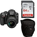 Nikon D3400 + SDXC de 64 GB + Funda AmazonBasics -  [Versión española con acceso a Nikonistas y 6 cursos gratis] Kit de cámara réflex digital de 24.2 MP con objetivo estabilizado 18-55 AFP DX VR (LCD 3', con Snapbridge, vídeo Full HD), color negro