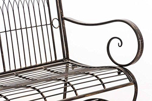 CLP Metall Gartenbank PURUSHA, 2-Sitzer, Landhaus-Stil, Eisen lackiert, Design nostalgisch Bronze - 7