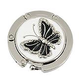 SODIAL(R)Glittery Black Butterfly Accent Runde Klapphaken Handtasche Tabelle Kleiderbuegel