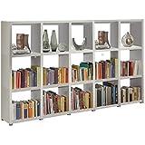 Sistema de estante Tabique divisorio Estante para libros Estante de pie READY 35 Blanco Seda mate 234 x