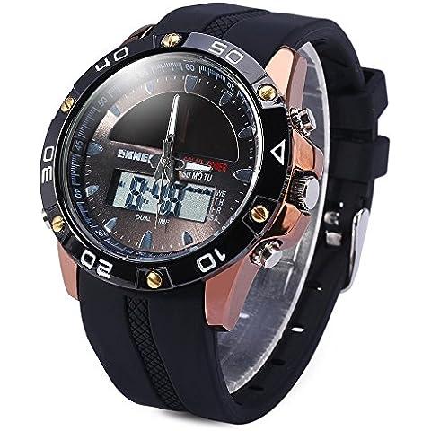 Leopard Shop Skmei Ejército reloj LED Fecha alarma de día Energía Solar Dual-movt resistente al agua