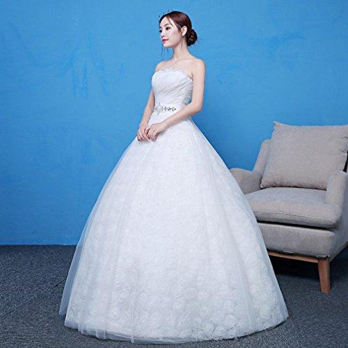 WEI Tube Top Brautkleid Braut Verheiratet Große Größe War Dünne Einfache Qi Traum Prinzessin Weißen Gaze Kleid,EIN,Anpassung Wird Nicht zurückgegeben -