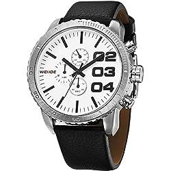 Alienwork Quartz Watch XXL Oversized Wristwatch Water Resistant 3ATM Leather white black OS.WH-3310-4