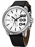 Alienwork Quartz Watch XXL Oversized Wristwatch Water Resistant 3ATM Leather white black OS.WH-3310-4